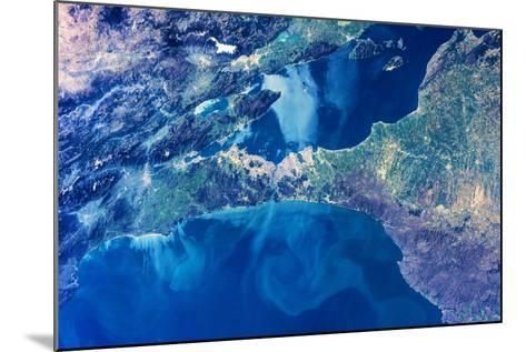 Satellite view of Istanbul with Sea of Marmara and Black Sea, Turkey--Mounted Photographic Print