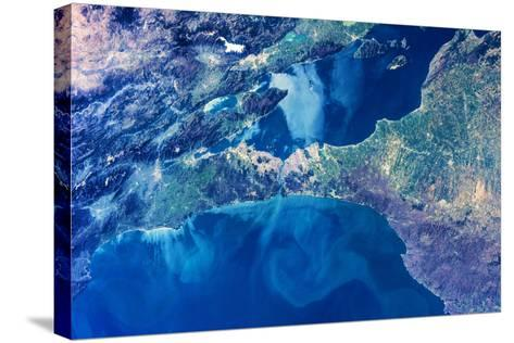 Satellite view of Istanbul with Sea of Marmara and Black Sea, Turkey--Stretched Canvas Print