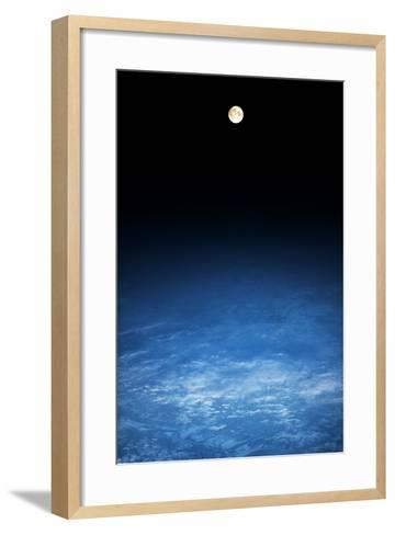 Satellite view of moon over Earth in Russia--Framed Art Print
