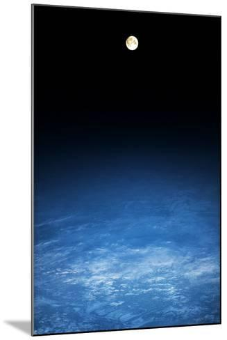 Satellite view of moon over Earth in Russia--Mounted Photographic Print