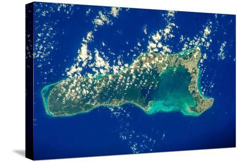 Satellite view of Grand Cayman--Stretched Canvas Print