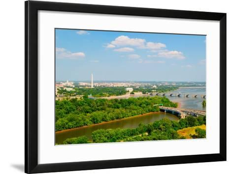 Washington D.C. aerial view with US Capitol, Washington Monument, Lincoln Memorial and Jefferson...--Framed Art Print