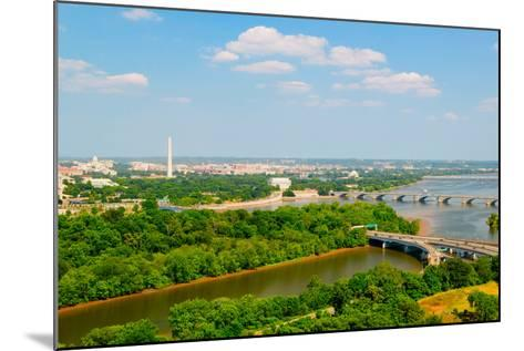 Washington D.C. aerial view with US Capitol, Washington Monument, Lincoln Memorial and Jefferson...--Mounted Photographic Print