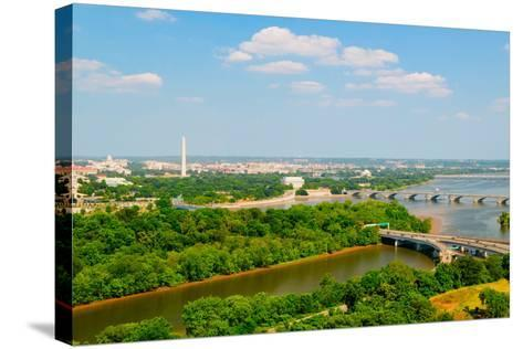 Washington D.C. aerial view with US Capitol, Washington Monument, Lincoln Memorial and Jefferson...--Stretched Canvas Print