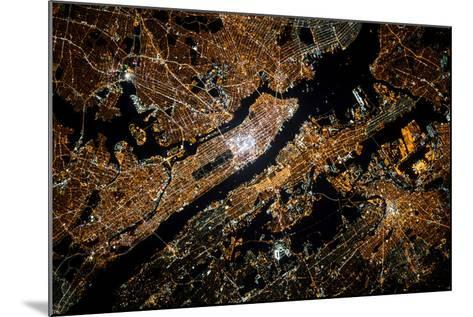 Night time satellite image of New York, USA--Mounted Photographic Print