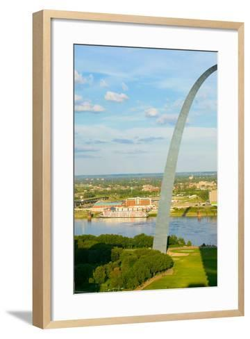 """One half view of Gateway Arch and the Mississippi River, St. Louis, Missouri, the """"Gateway to th...--Framed Art Print"""