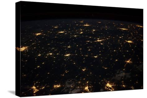 Night time satellite image of Cities in Gulf of Mexico, North America--Stretched Canvas Print
