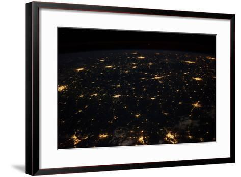 Night time satellite image of Cities in Gulf of Mexico, North America--Framed Art Print