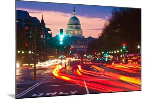 US Capitol Building at dusk, Pennsylvania Avenue, Washington DC, USA--Mounted Photographic Print