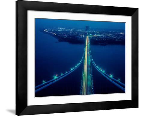 Night view of Verrazano-Narrows Bridge, New York City, New York State, USA--Framed Art Print