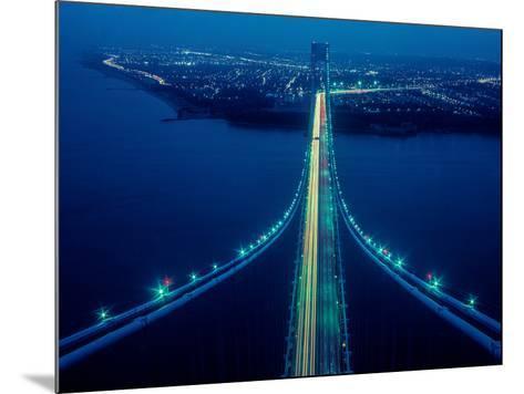 Night view of Verrazano-Narrows Bridge, New York City, New York State, USA--Mounted Photographic Print