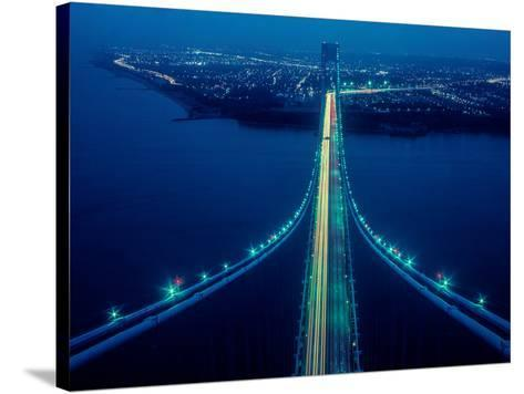 Night view of Verrazano-Narrows Bridge, New York City, New York State, USA--Stretched Canvas Print