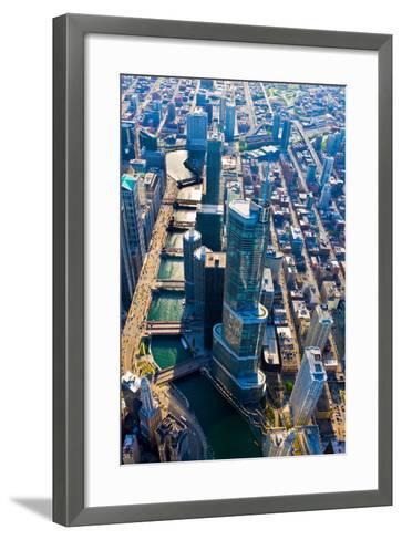 Aerial view of Trump Tower, Chicago River, Chicago, Illinois, USA--Framed Art Print