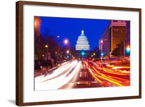 US Capitol Building at dusk, Pennsylvania Avenue, Washington DC, USA--Framed Art Print