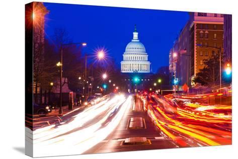 US Capitol Building at dusk, Pennsylvania Avenue, Washington DC, USA--Stretched Canvas Print