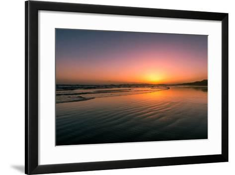 Waves rolling into Long Beach at sunset, Pacific Rim National Park Reserve, Vancouver Island, Br...--Framed Art Print