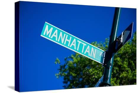 Close up of street sign reads Manhattan Boulevard, New York City, New York--Stretched Canvas Print