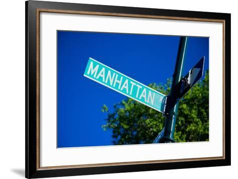 Close up of street sign reads Manhattan Boulevard, New York City, New York--Framed Art Print
