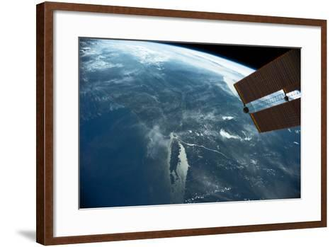 View of planet Earth from space showing East coast and Massachusetts, USA--Framed Art Print