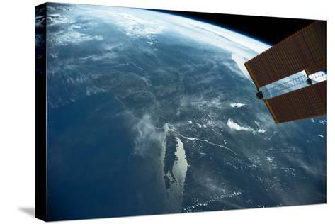 View of planet Earth from space showing East coast and Massachusetts, USA--Stretched Canvas Print
