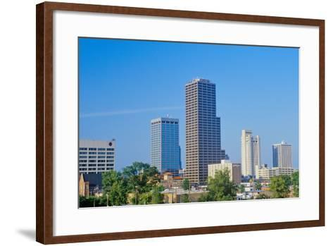 State capital and skyline in Little Rock, Arkansas--Framed Art Print