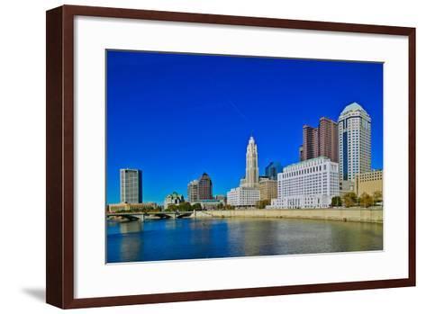 Scioto River and Columbus Ohio skyline in autumn--Framed Art Print
