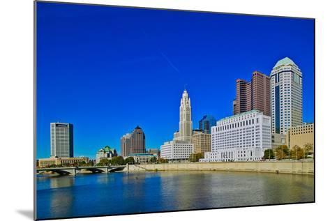 Scioto River and Columbus Ohio skyline in autumn--Mounted Photographic Print