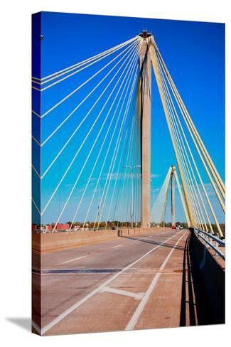 The Clark Bridge, also known as Cook Bridge, at Alton, Illinois, a Cable bridge carries U.S. Rou...--Stretched Canvas Print