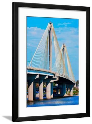 The Clark Bridge, also known as Cook Bridge, at Alton, Illinois, a Cable bridge carries U.S. Rou...--Framed Art Print