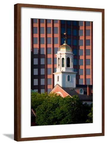 Faneuil Hall Weather Vane Tower, built in 1740-1742, is surrounded by contemporary office buildi...--Framed Art Print