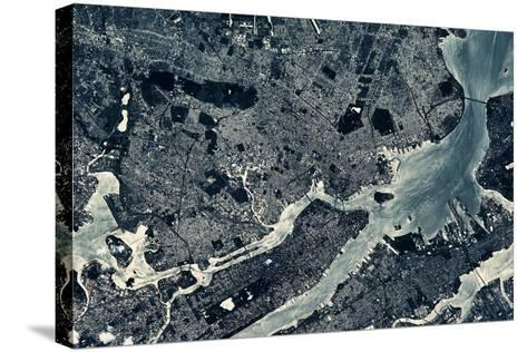 Satellite view of Manhattan, New York City, New York State, USA--Stretched Canvas Print