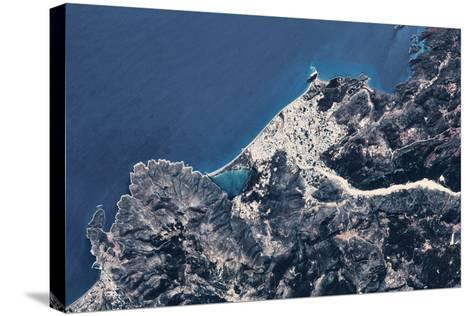 Satellite view of coastal town in Africa--Stretched Canvas Print