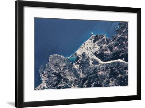 Satellite view of coastal town in Africa--Framed Art Print