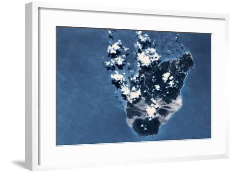 Satellite view of Montserrat Island, British Overseas Territory--Framed Art Print