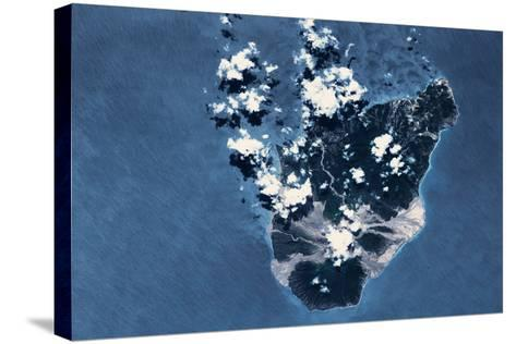 Satellite view of Montserrat Island, British Overseas Territory--Stretched Canvas Print