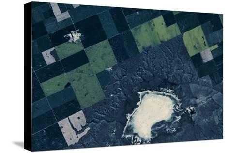 Satellite view of fields near Bladworth, Saskatchewan, Canada--Stretched Canvas Print