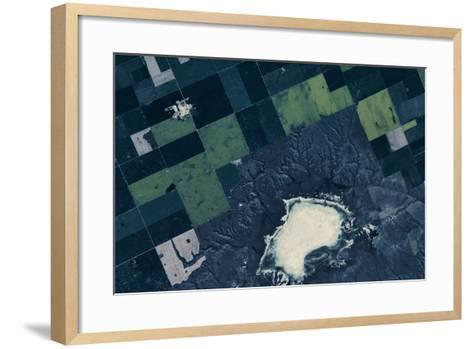 Satellite view of fields near Bladworth, Saskatchewan, Canada--Framed Art Print