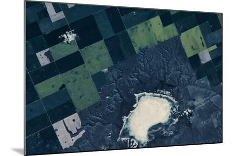 Satellite view of fields near Bladworth, Saskatchewan, Canada--Mounted Photographic Print