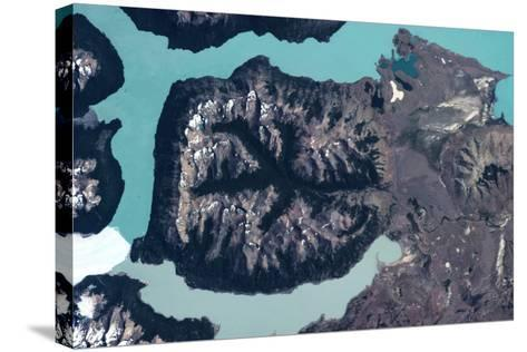 Satellite view of mountains and Glaciers National Park near El Calafate, Santa Cruz Province, Ar...--Stretched Canvas Print
