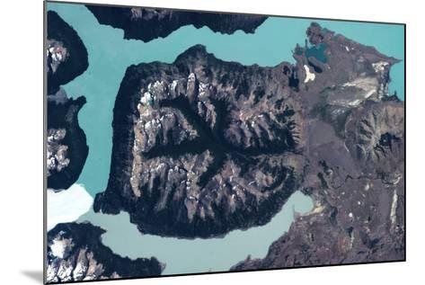 Satellite view of mountains and Glaciers National Park near El Calafate, Santa Cruz Province, Ar...--Mounted Photographic Print