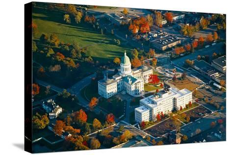 Aerial view of State Capital building and autumn color in Augusta, Maine--Stretched Canvas Print