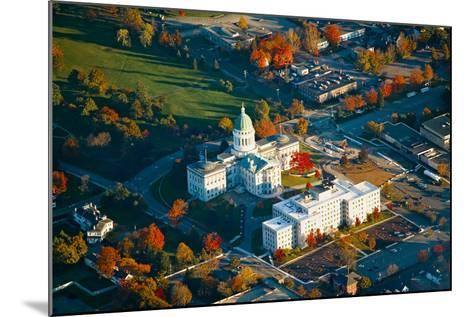 Aerial view of State Capital building and autumn color in Augusta, Maine--Mounted Photographic Print