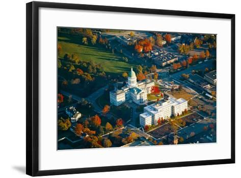Aerial view of State Capital building and autumn color in Augusta, Maine--Framed Art Print