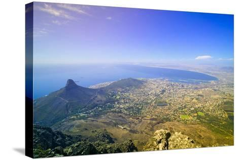 Aerial view from Table Mountain overlooking downtown Cape Town waterfront and Harbor, South Africa--Stretched Canvas Print