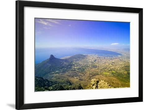 Aerial view from Table Mountain overlooking downtown Cape Town waterfront and Harbor, South Africa--Framed Art Print