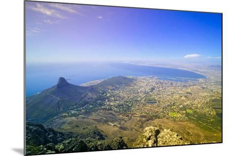 Aerial view from Table Mountain overlooking downtown Cape Town waterfront and Harbor, South Africa--Mounted Photographic Print