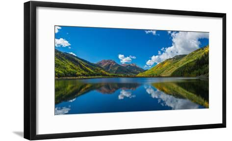 Reflection of clouds and mountain in Crystal Lakes, U.S. Route 550, Colorado, USA--Framed Art Print