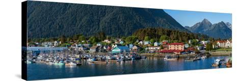 City with mountains in the background, Sitka, Southeast Alaska, Alaska, USA--Stretched Canvas Print