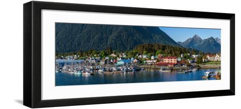 City with mountains in the background, Sitka, Southeast Alaska, Alaska, USA--Framed Art Print