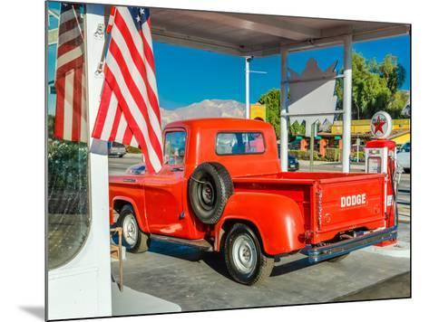 Red Dodge Pickup truck parked in front of vintage gas station in Santa Paula, California--Mounted Photographic Print